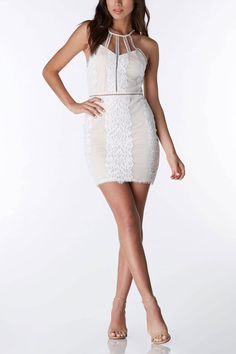 Play up your feminine side with this form fitting, mini lace dress! #trendy