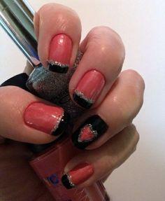 Pink  Black Valentines Nail Art