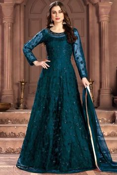 Featuring beautiful embroidery, this teal blue net anarkali suit which will surely grabs everyone attention. This round neck and full sleeve party wear suit designed with thread and sequins work. Along with santoon churidar in teal blue color and teal blue net dupatta. Churidar and dupatta are plain. #anarkalisuit #usa #Indianwear #Indiandresses #andaazfashion Anarkali Gown, Anarkali Suits, Churidar Suits, Abaya Fashion, Ethnic Fashion, Fashion Dresses, Net Gowns, Floor Length Anarkali, Salwar Kameez Online