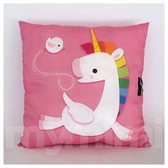 12 x 12 Pink Pillow Decorative Pillow Rainbow Unicorn by mymimi