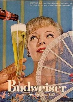 Even fancy girls with lace fans and false eyelashes can't resist a beer poured almost into their face from somewhere above