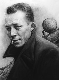 Albert Camus, Charcoal on paper, 59.4 x 42 cm. Realistic charcoal drawing by Liu Ling from Art Is http://artis.sg - #realism #portrait
