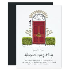 Red Door Housewarming Party Invitation - invitations custom unique diy personalize occasions