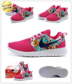 """FLORAL PRINT"" 511881-017 Pink Purple Nike Roshe Run 2015 For Sale Cheap"