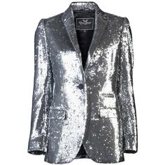 UNCONDITIONAL SEQUIN BLAZER (€1.080) ❤ liked on Polyvore featuring outerwear, jackets, blazers, coats, tops, women, button jacket, long sleeve blazer, single button blazer ve one button blazer