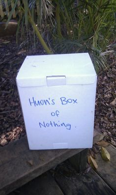 "My little friend Huon wanted to do nothing today (a slight touch of Mondayitis!). So I made him a box of nothing (see photo). Within about a minute other children were curious as to what was inside the box. ""Nothing, because Huon wants to do nothing today"". They looked inside, shook it and asked Huon all about it. My box of nothing quickly turned into something... something that everyone wanted to know about and 'have a turn of'. Might follow it up with Thank You Bear!"