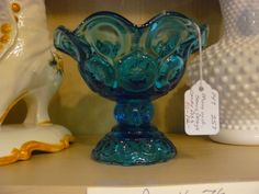 Moon and Stars pattern Pedestal Candy Dish, blue. We have APG American Pressed Glass, Depression Glass, Vintage cold paint, all kinds of collectible glassware