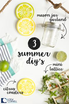 Summer is the season for fun, easy, and creative project ideas! These 3 Summer DIY's featuring Loew Cornell paint supplies and craft accessories make it super simple to add a splash of color and decor inspiration to your outdoor space. We've got bright Citrus Coasters for your dinner party table, a Mini Lattice for a beginner-friendly garden, and Mason Jar Garland for hours of backyard entertaining!