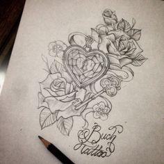 Tatoo Design for girl #tattoo#design#rosetattoo#rosedrawing#loveheart#diamond#tattooflash