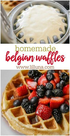 Belgian Waffle Crispy fluffy Belgian waffles to start your day off with a smile. Top them with all of your favorite fruits spreads and syrups. Once you try these homemade waffles youll never want the box mix again. Source by afamilyfeast Best Belgian Waffle Recipe, Belgian Waffle Mix, Belgian Waffles, Best Waffle Mix, Belgian Recipes, Best Waffle Recipe, Waffle Bar, Waffle Recipe Allrecipes, Waffle Mix Recipes