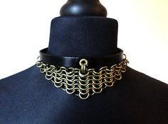 #Leather and #bronze chainmail #steampunk choker - gothic armour collar,  View more on the LINK: http://www.zeppy.io/product/gb/2/222119604690/