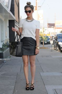 LOVE this outfit, except for the bag :: Elizabeth and James Sunglasses, J.Crew Necklace, Zara Blouse and Skirt, Reed Krakoff Bag, Prada Shoes, Michael Kors Watch, Vintage and J.Crew Bracelets, Revlon Orange Flip Lipstick