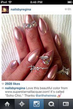 Pink metallic stiletto nails + Bling!