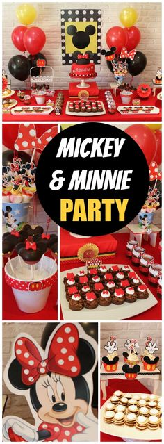 Love this Mickey & Minnie Mouse party in red, black and yellow! See more party ideas at CatchMyParty.com!