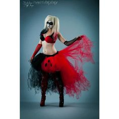 Harley Quinn Adult tutu skirt Wedding Formal bustle trail bridal... ($100) ❤ liked on Polyvore featuring costumes, dresses, skirts, harley quinn costume, harley quinn halloween costume, adult costume, adult role play costumes and harley quinn cosplay costume