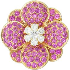 Van Cleef Arpels Pink Sapphire Diamond 18K Gold Flower Brooch