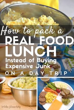 How to pack a Real Food Lunch Instead of Buying Expensive Junk When Traveling. Don't buy expensive junk that no one enjoys (or needs). Check out these tips for how to pack real food on a day trip or road trip!
