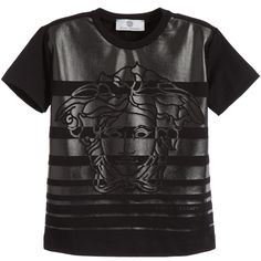 Young Versace Boys Black  Medusa Print T-Shirt at Childrensalon.com