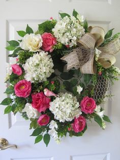 Easter Wreath Spring Wreath Four Season Wreath Front by FunFlorals