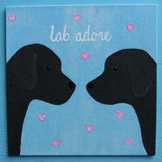 Black Labrador Retriever Puppy Dog LOVE Lab Adore Painting