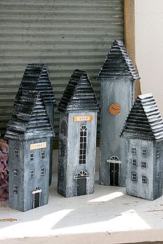 I love these houses by leanne Clay Houses, Box Houses, Ceramic Houses, Putz Houses, Paper Houses, Miniature Houses, Fairy Houses, Wooden Houses, Driftwood Crafts
