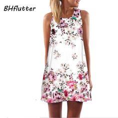 BHflutter Women Dress New 2017 Summer Style Short Dress Floral Print Casual Woman Chiffon Dresses Boho Beach Dresses Vestidos