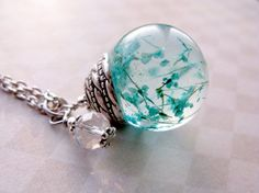 Beautiful Queen Anne's Lace Resin Pendant Necklace Sphere - Turqoise Flowers encased in resin orb, Pressed Flower Jewelry - Resin Necklace