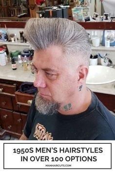 Combine this long Pompadour with zero faded sides to obtain a balanced 1950s men's hairstyles. Check out this list and discover more styling ideas that you can recreate in our times. #pompadour #1950shairstyle #menfadedhairstyle #menhairstyle #manhaircuts Skin Fade Hairstyle, Hairstyle Look, Pompadour Fade, Pompadour Hairstyle, 1950s Mens Hairstyles, Slick Back Haircut, Barber Games, Mullet Haircut