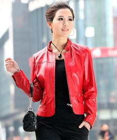 QD29216 Красный жакет норковая куртка кожаная женская интернет магазин
