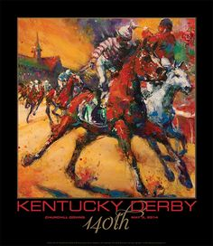 """2014 Kentucky Derby Poster. The unparalleled excitement and glory of the Kentucky Derby is brilliantly captured by artist Susan Easton Burns in the commemorative 140th KY Derby poster. in America. 30"""" x 26"""" (unframed)."""