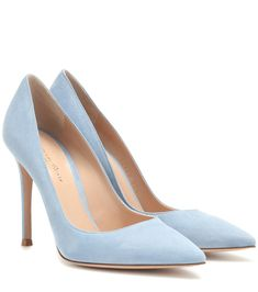 Shop Gianvito 105 suede pumps presented at one of the world's leading online stores for luxury fashion. Castaner Espadrilles, Sock Shoes, Cute Shoes, Shoe Boots, Suede Pumps, Pumps Heels, Light Blue Heels, Burberry, Prada