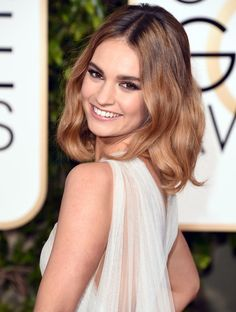 lily james hair beauty look golden globe 2016