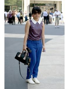 Michelle Jun, student:   What are you wearing? Prada top and bag, Celine pants and Maison Martin Margiela shoes.