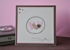 Stampin up - Hochzeitskarte - Grußkarte - selbst gemacht - Herz an Herz-Stanze - genäht - heard from the heart stempel
