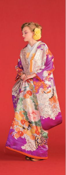 Fuschia Uchikake with Floral and Autumn Leaf Designs from TreatDressing.jp