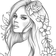 Flower Drawing Discover Printable coloring page girl portrait and clothes colouring sheet floral pdf adult anti-stress relaxing zentangle line art Adult coloring page girl portrait and clothes colouring sheet Fairy Coloring Pages, Printable Adult Coloring Pages, Coloring Pages For Girls, Disney Coloring Pages, Animal Coloring Pages, Coloring Pages To Print, Coloring Sheets, Coloring Books, Doodle Coloring