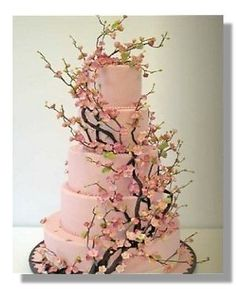 cherry blossom cake! would love a small version of this with cupcakes surrounding it!