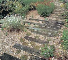 gravel and wood for steps