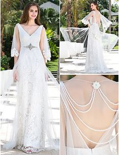 Sheath Column V-neck Charmeuse And Lace And Stretch Satin Floor-length And Wattean Train Wedding Dresses