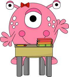 Girl Monster in School Clip Art - Girl Monster in School Image Happy Monster, Monster Girl, Monster School, Monster Clipart, Cartoon Monsters, School Images, Silhouette Painting, Monster Cards, Clip Art