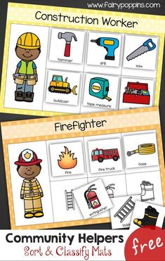 These free community helper sorting mats help kids learn about different members of the community. This is a great activity for developing language and vocabulary. It now comes in an English, French and Spanish version. #communityhelperactivities #communityhelpertheme #peoplewhohelpus #preschoolmath #kindergartenmath #preschoolliteracy #kindergartenliteracy Community Helpers Lesson Plan, Community Helpers Kindergarten, Community Helpers Activities, Community Helpers Pictures, Classroom Community, Preschool Social Studies, Preschool Themes, Construction Theme Preschool, Sight Word Games