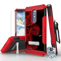 Tri Shield For ZTE Z Max Pro / ZTE Carry Z981 Red Roses, Belt Clip Holster