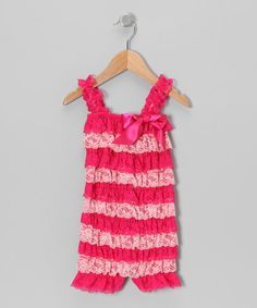 Take a look at this Pink Stripe Lace Ruffle Romper - Infant & Toddler by Royal Gem Clothing on #zulily today!