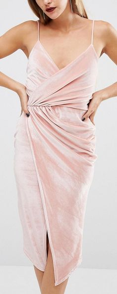 Boohoo Velvet Strappy Wrap Midi Dress