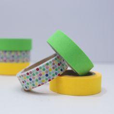 3 Tapes Bunte Punkte gelb grün neon von washitapes auf DaWanda.com
