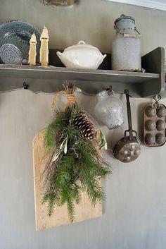 Plank keuken soepterrine groene toef kerst