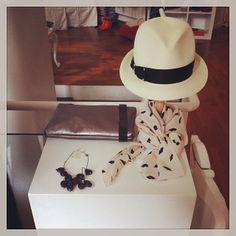 MM6 clutch, Eugenia Kim hat, Sonia by Sonia Rykiel scarf, Margot necklace