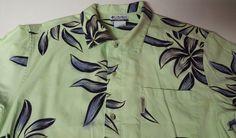 Columbia Hawaiian Camp Shirt Large Floral Flowers Green Cotton Blend Marlin Fish #Columbia #Hawaiian