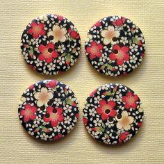 6 Large Wood Buttons Lovely Floral Design 30mm B58. $2.50, via Etsy.