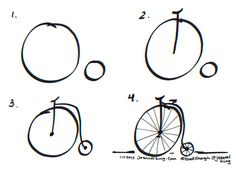 how to draw a good enough penny farthing or hi wheel bicycle